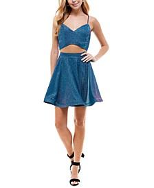 Juniors' 2-Pc. Glitter Fit & Flare Dress