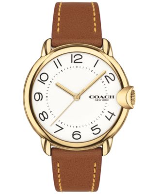 코치 여성 손목 시계 COACH Womens Arden Saddle Leather Strap Watch 36mm,Brown