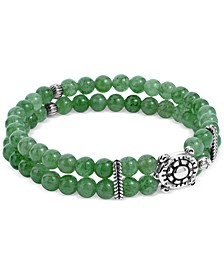 Green Aventurine Bead Turtle Stretch Bracelet in Sterling Silver