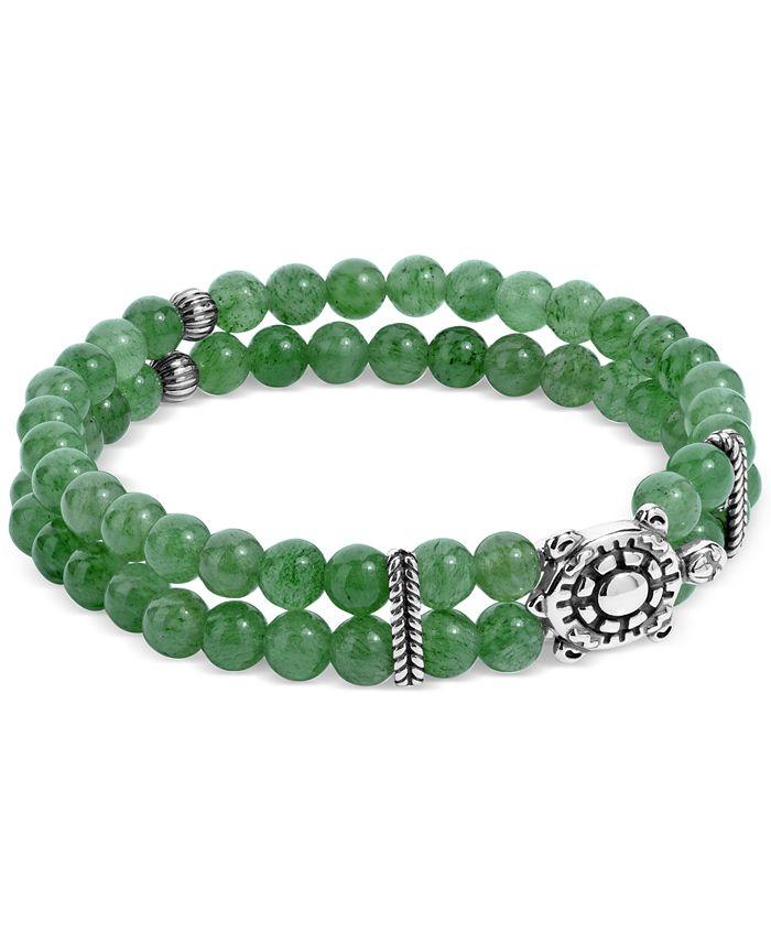 American West - Green Aventurine Bead Turtle Stretch Bracelet in Sterling Silver
