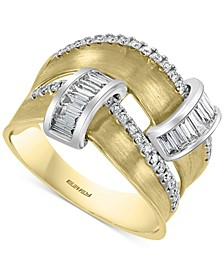 EFFY® Diamond Two-Row Satin Finish Statement Ring (3/4 ct. t.w.) in 14k Gold & White Gold