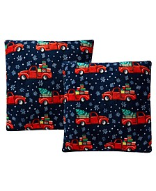 "Printed Plush 18"" Decorative Pillow 2-Pack"