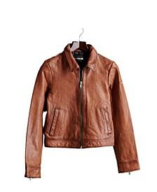 Women's Cropped Leather Harrington Jacket
