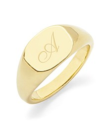 Reagan Initial Signet Gold-Plated Ring