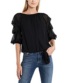 Off-the-Shoulder Ruffled-Sleeve Top