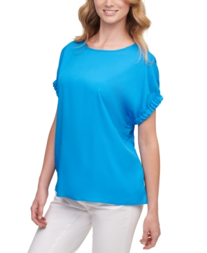 Dkny RUCHED-SLEEVE TOP
