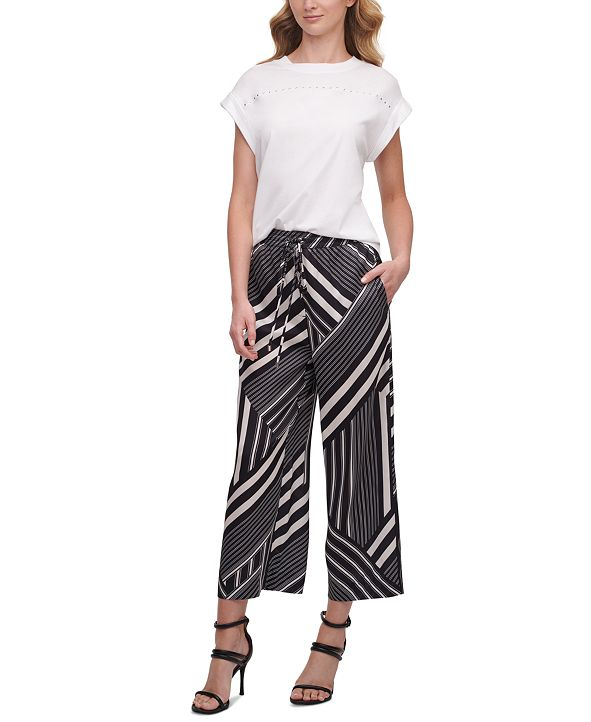 DKNY Printed Pull-On Culotte Pants