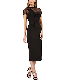 Bow-Front Illusion Sheath Dress