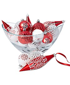 Chalet You Stay Red Silver White Shatterproof Ornaments, Set of 16, Created for Macy's