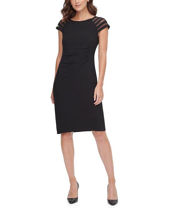 Jessica Howard Illusion Cap-Sleeve Sheath Dress