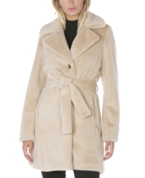 Laundry By Shelli Segal LAUNDRY BY SHELLI SEGAL BELTED FAUX-FUR COAT