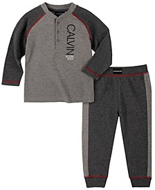 Baby Boys Thermal Raglan Henley Top Pant Set