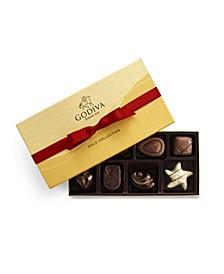 Holiday Ballotin Gold Chocolate Gift Box, 8 Piece Set