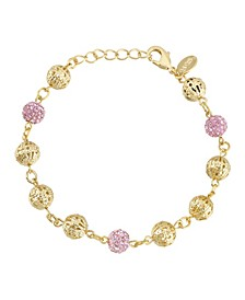 Gold-Tone Pink Fireball and Filigree Beaded Bracelet