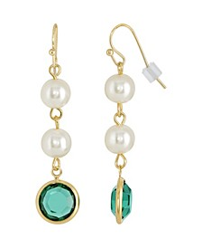 Gold-Tone Imitation Pearl with Dark Green Channels Drop Earring