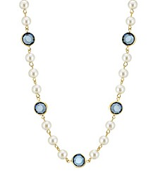 """Gold-Tone Imitation Pearl with Dark Blue Channels 16"""" Adjustable Necklace"""