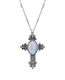 "Pewter Cross Blue Lace Oval 28"" Necklace"