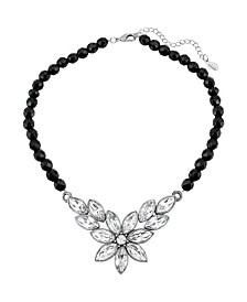 "Silver-Tone Diamond Shaped Crystal Flower Black Beaded 15"" Adjustable Necklace"