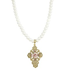 "Gold-Tone Imitation Pearl and Pink Porcelain Rose Pendant 15"" Adjustable Necklace"