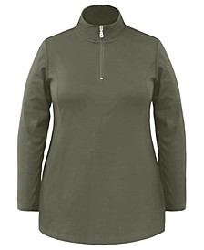 Plus Size Half-Zip Tunic Top, Created For Macy's