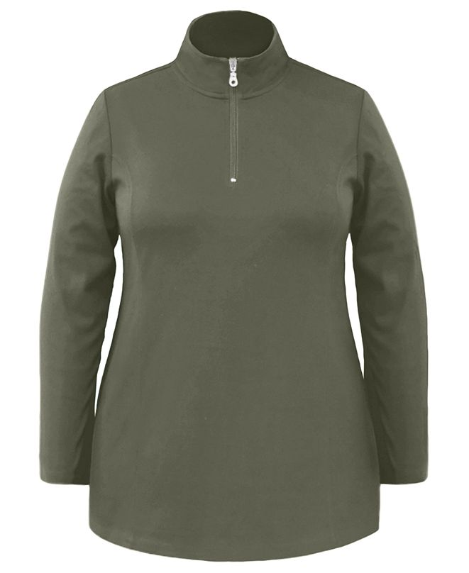 Karen Scott Plus Size Half-Zip Tunic Top, Created For Macy's