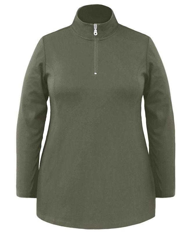 Karen Scott Plus Size Half-Zip Tunic Top, Created For Macy's
