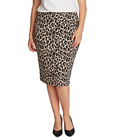 Plus Size Animal-Print Tube Skirt