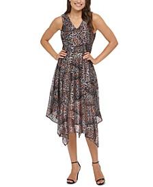 Foil-Printed Hanky-Hem Midi Dress