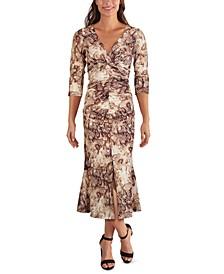 Printed Mesh Ruched Midi Dress