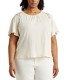 Lauren Ralph Lauren Plus-Size Lace-Trim Cotton Jersey Top