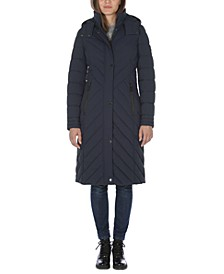 Hooded Stretch Maxi Puffer Coat