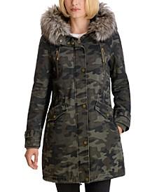 Camo-Print Faux-Fur-Trim Hooded Anorak