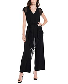Belted Overlay Jumpsuit