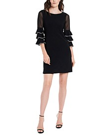 Embellished Illusion-Sleeve Sheath Dress