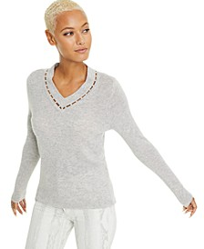 Imitation Pearl Inset V-Neck Cashmere Sweater, Created For Macy's