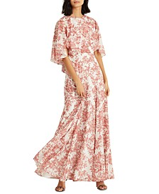 Floral Georgette Cape Gown