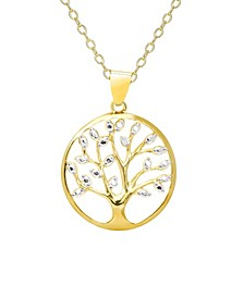 Diamond Accent Gold-plated Tree of Life Pendant Necklace