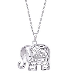 Diamond Accent Silver-plated Elephant Pendant Necklace