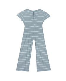 Toddler Girl Stripe Jumpsuit With Tie Front Detail