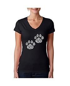 Women's Word Art V-Neck Cat Mom T-Shirt