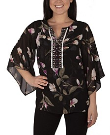 Women's Plus Size 3/4 Bell Sleeve Blouse