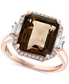 EFFY® Smoky Quartz (6-3/4 ct. t.w.) & Diamond (1/3 ct. t.w.) Ring in 14k Rose Gold