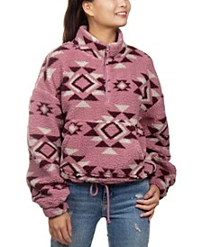 Juniors' Printed Sherpa Quarter-Zip Top