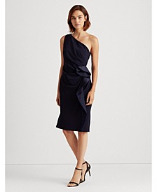 Ruffle-Trim Crepe Dress