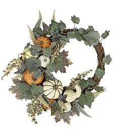 Harvest Asymmetrical Artificial Pumpkin Wreath, Created for Macy's