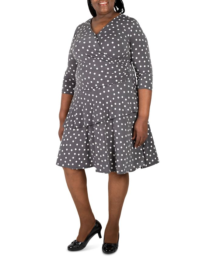 Robbie Bee - Plus Size Polka-Dot Ruffled Wrap Dress