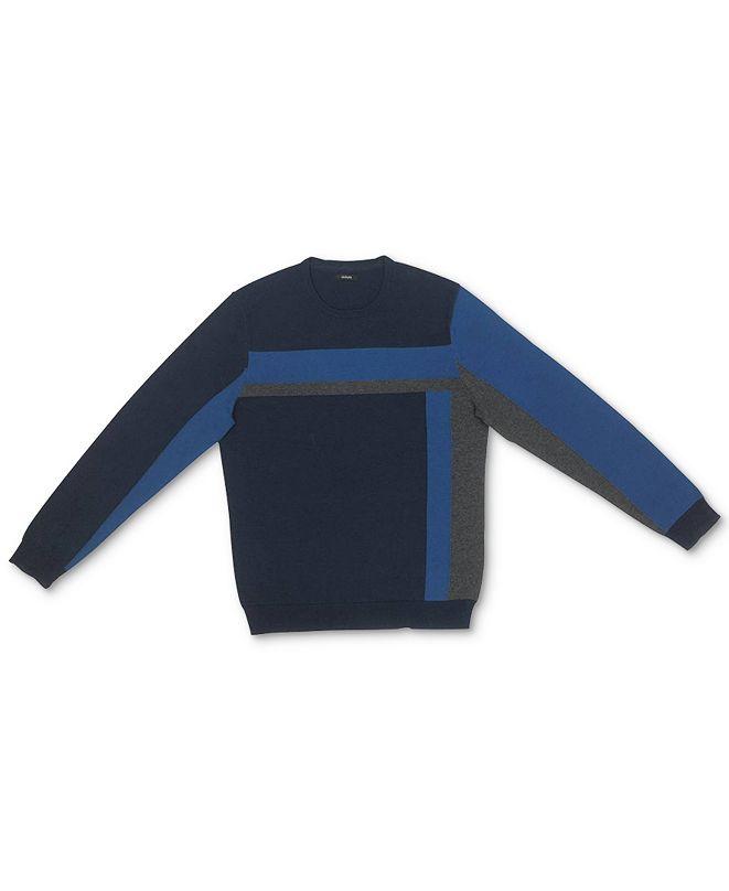 Alfani Men's Vertical Blocked Crewneck Cotton Sweater, Created for Macy's