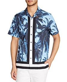 Tallia Men's Slim-Fit Performance Stretch Tropical Short Sleeve Camp Shirt and a Free Face Mask With Purchase