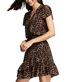 Leopard-Print Smocked-Waist Dress