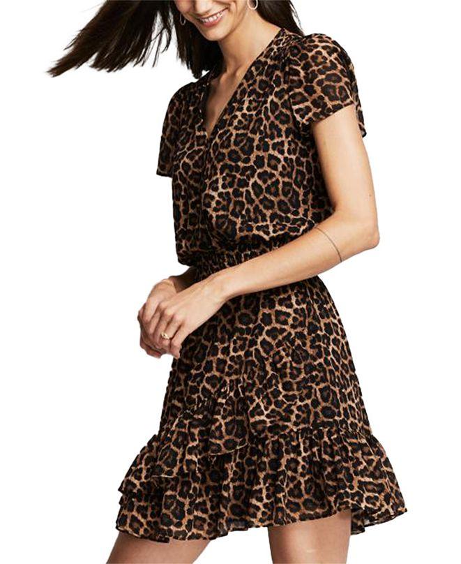 Michael Kors Leopard-Print Smocked-Waist Dress